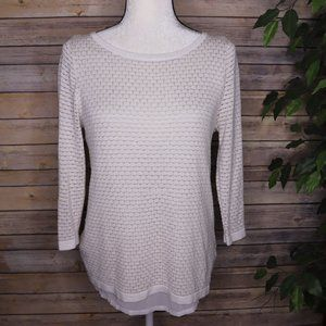 WHBM Knit Button Back Blouse Sz M